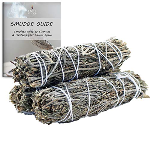 Ancientveda Lavender Smudge Sticks 3 Pack for Cleansing House, Meditation, Yoga, Negative Energy Cleanse, and Smudging with Starter Guide | 4 Inch Organic Lavender Sage Bundles