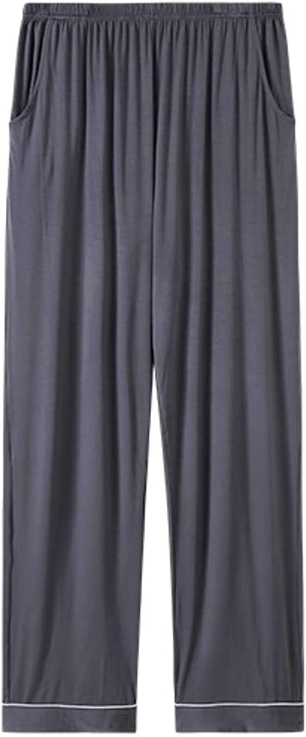Men's Modal Thin Loose Plus Size Stretch Solid Color Casual Trousers Pajama Pants
