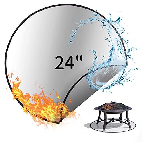 SUCHDECO Fire Pit Mat 24'', 61cm,Alfombrilla Redonda para Fogata Resistente al Calor, Protector de Cubierta de Fibra de Vidrio, Tapete para Parrilla de Carbón y Leña al Aire Libre