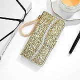 Protector de Pantalla para iPhone XS MAX Glitter Powder Horizontal Flip Funda de Cuero con Ranuras y Soporte para Tarjetas y cordón, Zhongxianshangmaoyouxiangongsi (Color : Gold)