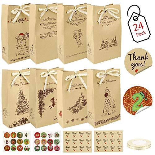 Gafild Sacchettini di Carta, 24 Pezzi sacchettini Carta Kraft Piccoli Natale scatole Regalo Natalizie con 48 Adesivi Utilizzato per Regali Alimenti Dolci Caramella Matrimonio Battesimo Compleanno