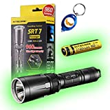 Nitecore SRT7 Revenger Cree XM-L2 LED Flashlight with built-in RGB Color Functions w/A&A keychain light (SRT7 (Black) + NL188 + Keychain Light)