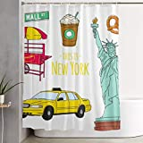 DHGER Duschvorhang New York-Culture Printed Shower Curtains Waterproof Washable Polyester Fabric 60 X 70 Inch Bathroom Decor Set with Hooks