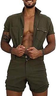 Babao Mens Short Sleeve Onesie Jumpsuit Zip Up Overall Lapel Cotton Romper