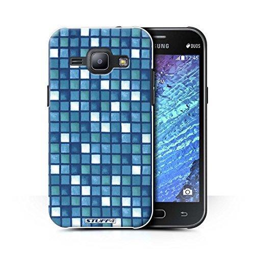 Stuff4 hoes/case voor Samsung Galaxy J1 Ace / J110 / blauw/wit patroon/badkamer tegels collectie