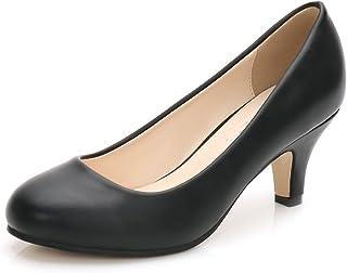 [OCHENTA] レディース メンズ シンプル 歩きやすい スエード エナメル 大きいサイズ 美脚 通勤 通学 ピンヒール ハイヒール ジュース ラウンド パンプス 6cmヒール
