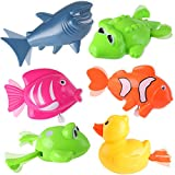 Liberty Imports Set of 6 Wind Up Sea Animal Water Toys for Bath (Includes Duck, Fish, Shark, Frog, Gator)