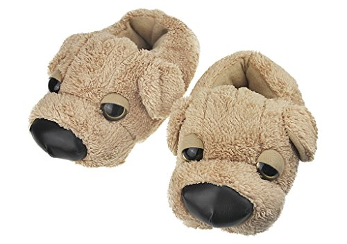 Cute 3D Dog Plush Slippers Thermal Cartoon Puppy Indoor Slipper Cosy Warm Non-slip Floor Socks Winter Slip-On Ankle Boots Soft Fluffy Bootie House Floor Slipper Fleece Lining Bedroom Shoes Xmas Gift