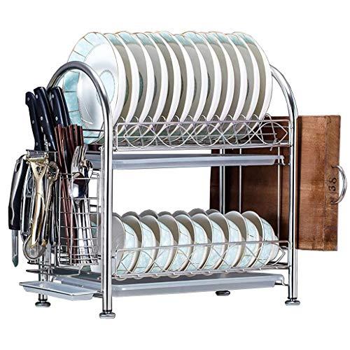 JPL Estante de almacenamiento de cocina para el hogar, estante para platos de drenaje de doble capa de acero inoxidable Estante de almacenamiento de almacenamiento de cocina 43 × 26 × 45 cm.