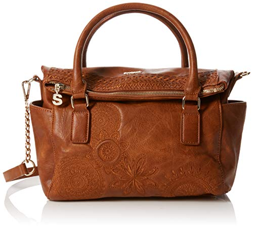 Desigual - Bols_dark Amber Loverty, Bolso Mujer, Marrón (Camel), 14x24x33 cm (B...