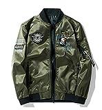 ミリタリージャケット 両面着 ブルゾン MA-1刺繍ワッペン カジュアル ジャンパー フライトジャケット アーミーグリーン S