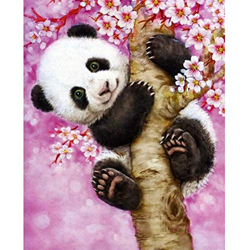 YUESEN 5D Diamant Malerei Panda Painting by Numbers Diamond, DIY Rhinestone Diamond Painting Pictures Full Embroidery Painting Cross Stitch for Home Wall Decoration(30 x 40 cm)