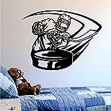 wZUN Il Giocatore di Hockey ha Colpito Le Decalcomanie della Parete del Hockey su Ghiaccio Adesivi murali Sportivi Camera dei Bambini Soggiorno Decorazione della casa 63x84 cm