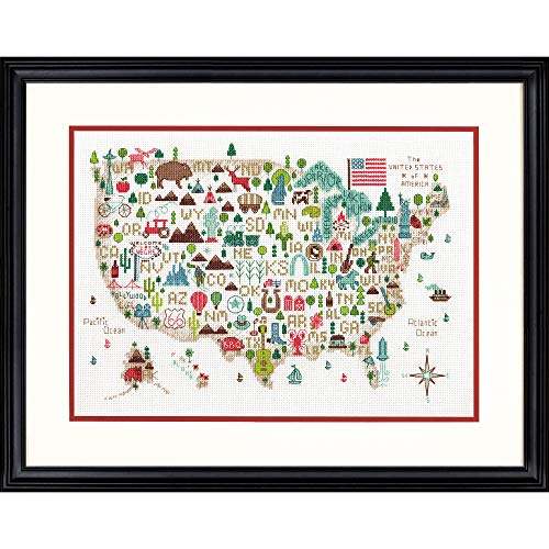 Darice Dimensions 'Illustrated USA' Patriotic 50 States Counted Cross Stitch Kit, 14 Count White Aida Cloth, 14' x 10', Red