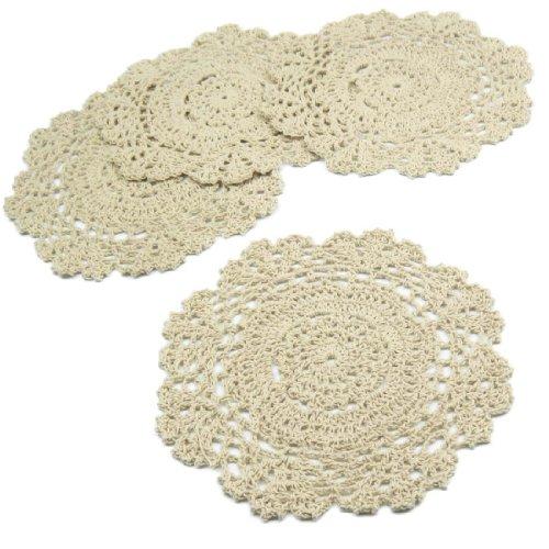 kilofly Tapetes de ganchillo y encaje de algodón con motivo floral,...