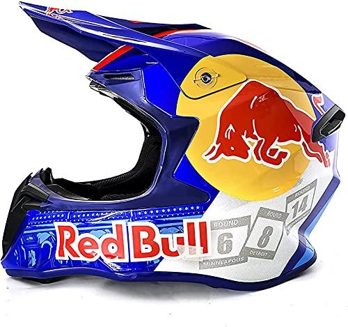 Casco motocross, casco motocross giovanile, casco motocross professionale, certificazione DOT, casco mtb integrale, adatto per adulti e bambini Red Bull blue,L=59-60CM