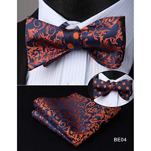 Fliege mit Einstecktuch im Set (verstellbar) Mens Woven Bow Tie Solide Paisley Double Side Selbst Fliege Taschentuch Set Hochzeitsfeier
