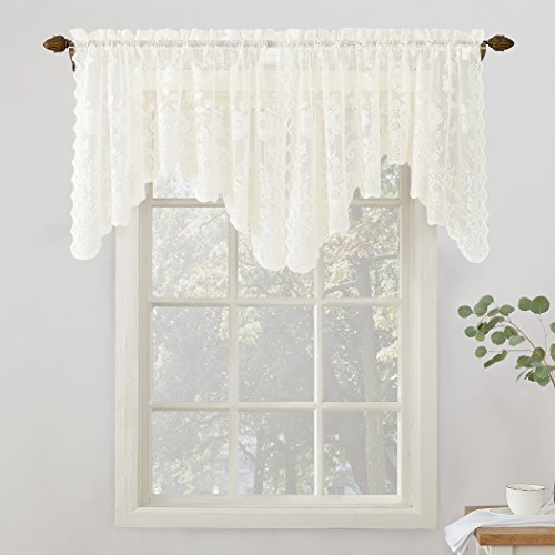 No. 918 24520 Alison Floral Lace Sheer Rod Pocket Curtain Valance, 58' x 32', Ivory