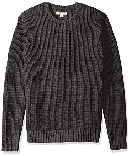 Marchio Amazon - Goodthreads - maglione a girocollo da uomo, in morbido cotone a costine, Nero (washed black), US XS (EU XS)