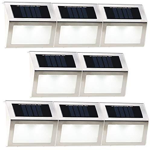 Lunartec Aussenlicht: 8er-Set Solar-LED-Wand- & Treppen-Leuchten für außen, Edelstahl, 20 lm (LED Solarlampen)