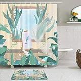 Juego de cortinas y tapetes de ducha de tela,Atelier Arte abstracto Caballete Delfín Planta Hojas Profundizando en la,cortinas de baño repelentes al agua con 12 ganchos, alfombras antideslizantes