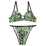 Ropa Interior Traje De BañO Dos Piezas Dividido con Hebilla Bikini Estampado Serpiente Sexy A La Moda para Mujer Encaje V Body Halter Transparente Mini Bodydoll Tapa OjosYANFANGSGreen