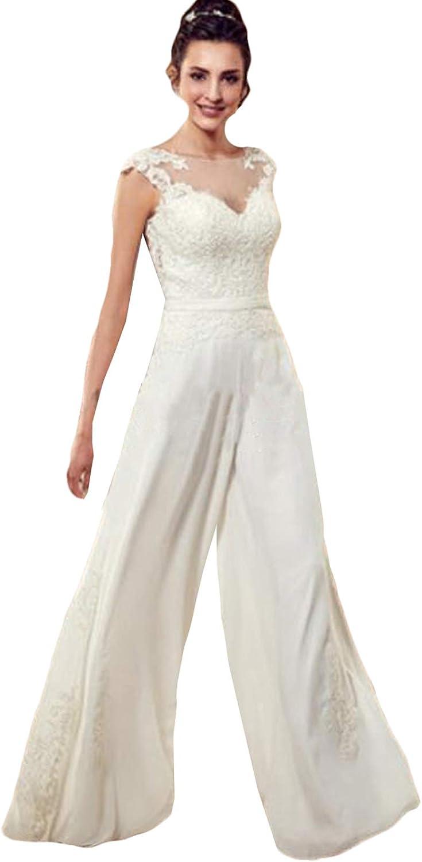 Xixi House Lace Applique Bobo Bridal Jumpsuits Open Back 2021 Wedding Dresses Bride Gown Wide Leg Pants