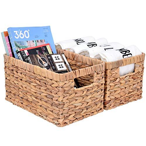 "StorageWorks Water Hyacinth Storage Baskets, Rectangular Wicker Baskets with Built-in Handles, Medium, 13"" x 8.3"" x 7.1"", 2-Pack"