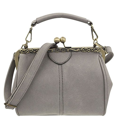 Donalworld Women Retro Kisslock Handbag Purse PU Leather Bag Metal Frame Tote Grey