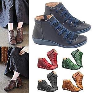 BaZhaHei Stivali Donna Invernali Pelle Piatto Stivaletti Donna Autunno Vintage Stringate Scarpe da Donna Shoes Casuale…