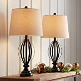 Grant Farmhouse Contemporary Table Lamps Set of 2 Dark Bronze Open Metal Cage Taupe Fabric Drum Shade Decor for Living Room Bedroom House Bedside Nightstand Home Office Family - 360 Lighting