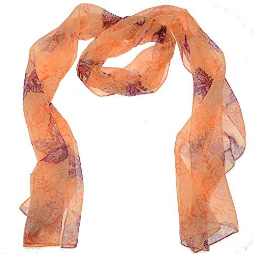 Acosta - con efecto piel de melocotón y Morado diseño de flores de diseño de mariposas - de chifón de Vintage bufanda - dentro de caja de regalo con bolsa