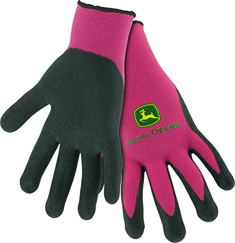 West Chester John Deere JD00021 Nitrile Foam Palm Dipped Gloves - Work Gloves for Women, Light-Duty Gloves with Elastic Wrist, Band Top Cuff, Black/Pink