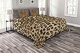ABAKUHAUS Leopard-Druck Tagesdecke Set, Wildtierhaut, Set mit Kissenbezügen Maschienenwaschbar, für Doppelbetten 220 x 220 cm, HellBraune schwarz