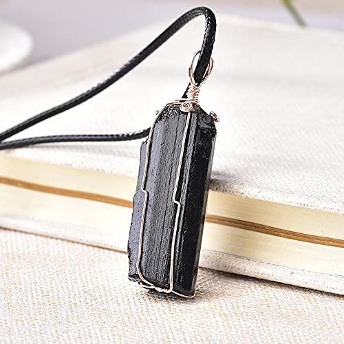 Colgante de collar de piedra de turmalina negra natural, cristales en bruto, joyería mineral, espécimen de piedra, accesorios de joyería, regalo-1 pieza