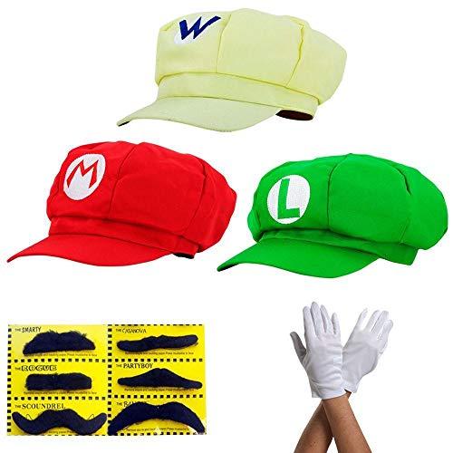Super Mario Gorra Luigi Wario - Conjunto de Disfraces para Adultos y niños + 3X Guantes y 6X Barba pegajosa Carnival & Cosplay - Classic Cappy Cap