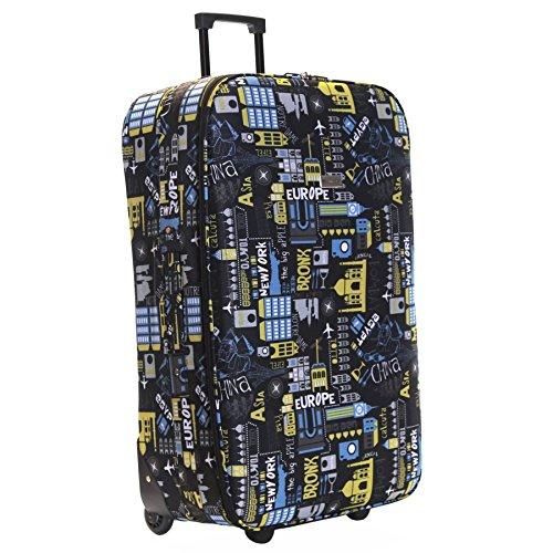 Slimbridge Large Hold Luggage Suitcase Trolley Bag Super Lightweight 73 cm 2.95 kg 76 litres 2 Wheels, Algarve Black/Blue