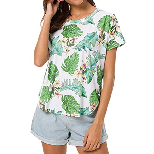 Vovotrade T-shirts met bloemenprint, dames, zomer, ronde hals, batwing, korte mouwen, hoge low hem losse top, casual T-shirt, blouse, strandvakantie.