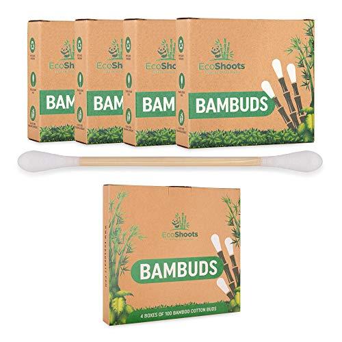 EcoShoots 400 o 1000 bastoncillos de algodón de bambú | Paquete de 4x100 bastoncillos orgánicos | Embalaje libre de plástico reciclado | Auriculares de bambú orgánico con certificado GOTS