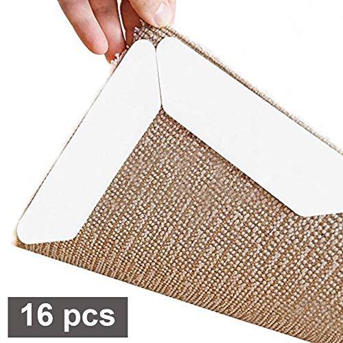 sokey Teppichgreifer Antirutschmatte für Teppich Aufkleber, 16 Stück Teppich Anti Rutsch Unterlage, Anti Rutsch Teppichunterlage, Wiederverwendbare Waschbar Büro Schlafzimmer Küche Bad - Weiß