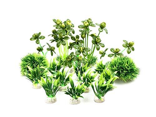 BEGONDIS Artificial Green Water Plants Flower Set 18 Pcs, Fish Tank Aquarium Decorations, Made of Soft Plastic, Safe for All Fish & Pets