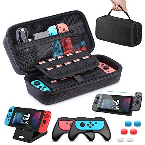 HEYSTOP Custodia per Nintendo Switch 11 in 1 Custodia per Switch Nintendo 2 Joy-con Grip per Switch Nintendo PlayStand Regolabile Pellicole Protettive con 6 Thumb Grip