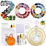 Pllieay Juego de 349 piezas de bordado, 200 hilos de colores, 3 piezas de tela Aida, 5 aros de bordado de bambú, 5 piezas de papel de transferencia, con herramientas de punto de cruz