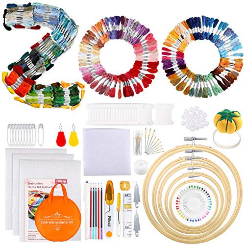 Pllieay 349 Pieces Embroidery Kit with Instrctions, 200 Colors Threads, 3Pcs Aida Cloth, 5Pcs Bamboo Embroidery Hoops, 5Pcs Transfer Paper and Cross Stitch Tools for Adults and Kids Beginners