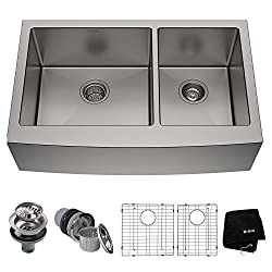 Kraus KHF203-36 36 inch Farmhouse Apron 60/40 Double Bowl 16 gauge Stainless Steel Kitchen Sink