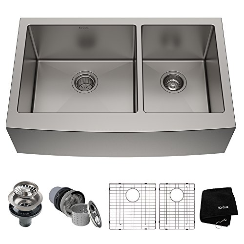 Kraus KHF203-36 Standart PRO Kitchen Stainless Steel Sink, 36 Inch Round Apron 60/40 Double Bowl