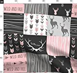 Hirsch, Rosa, Wholecloth, Mogel, Quilt Stoffe - Individuell