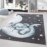 HomebyHome Kinderteppich Kurzflor Elephant Kinderzimmer Babyzimmer Grau Blau Meliert