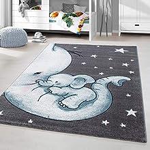 HomebyHome Alfombra Infantil diseño de Elefante Habitación Infantil para bebé Gris Azul rectángulo Redonda, tamaño:160x230 cm