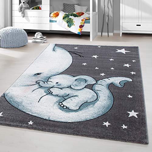 HomebyHome Kinderteppich Kurzflor Elephant Kinderzimmer Babyzimmer Grau Blau Meliert, Größe:160 cm Rund
